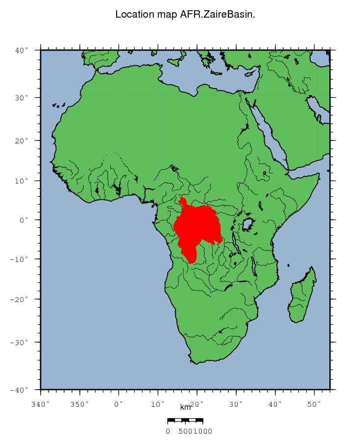 Map Of Africa Zaire River.Afr Zaire Basin