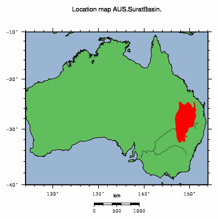 surat basin location map