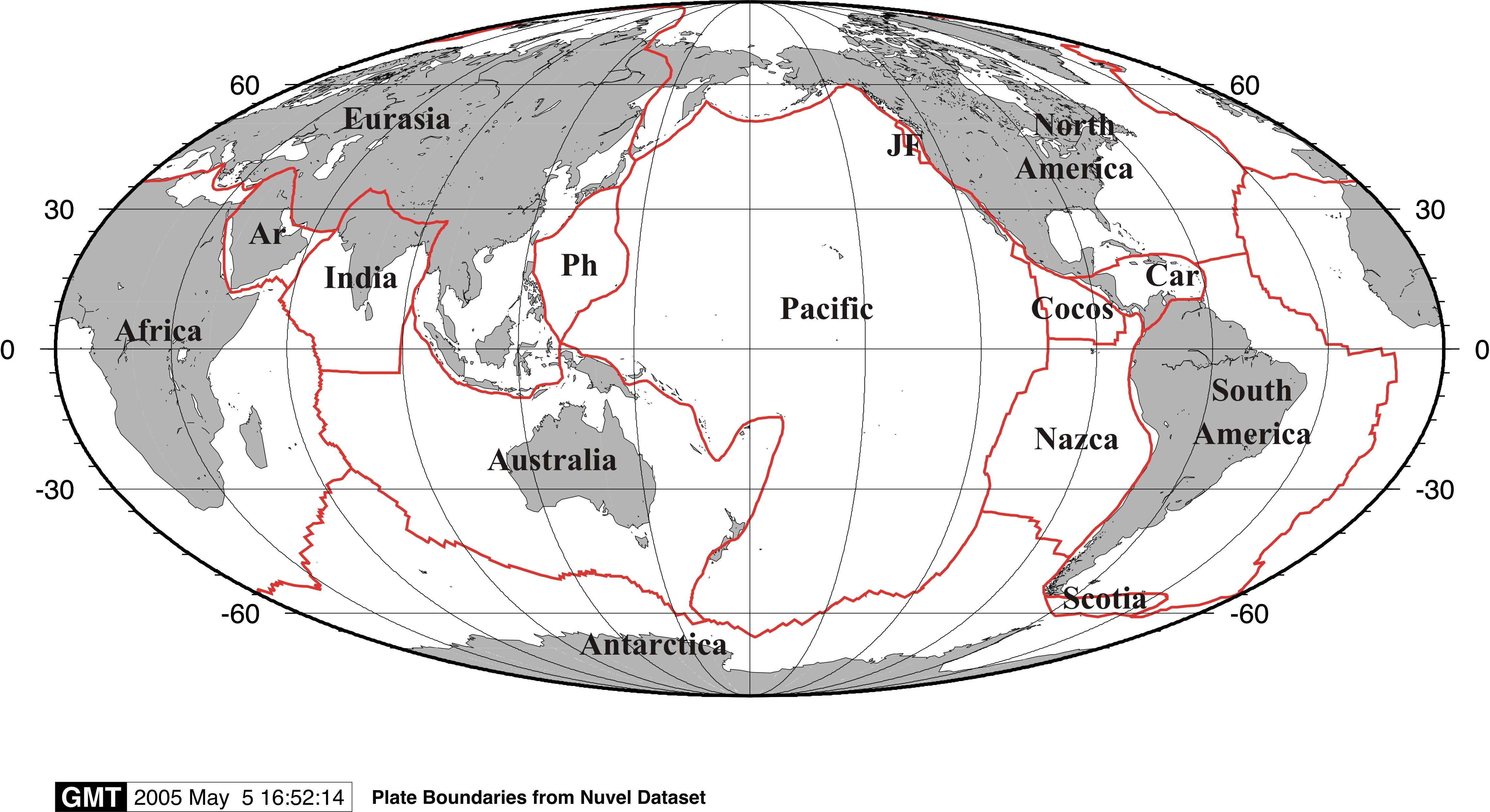 EarthByte - Map of us plate boundaries