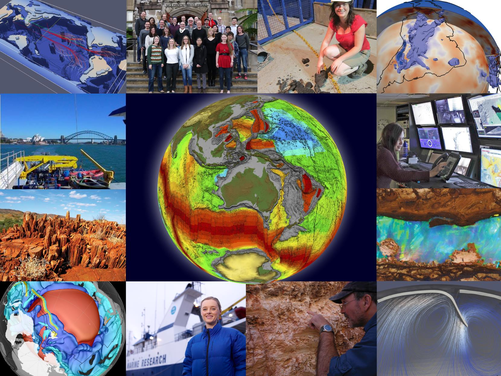 Various images of EarthByte research