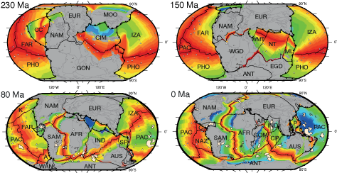 Seafloor ages from Müller et al.