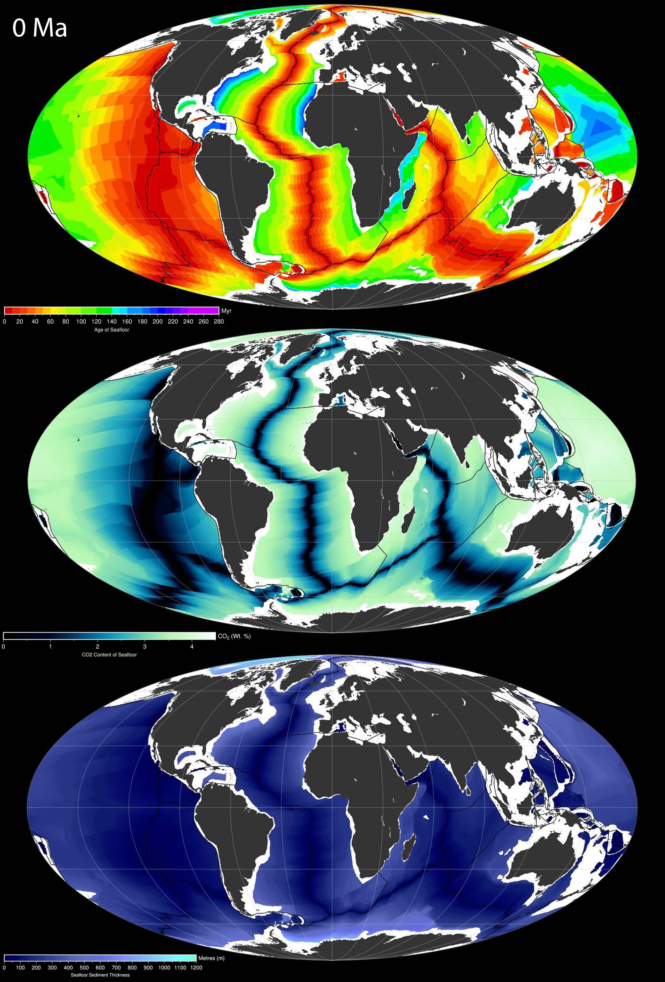 Present-day spatio-temporal distribution of Seafloor Age [Myr] (top), predicted CO2 content [wt. %] of oceanic crust (middle) and seafloor sediment thickness [metres] (bottom) in Mollweide projection. Raster images were produced using GPlates 1.5 with color scales produced in GMT.